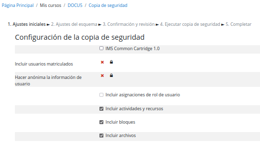 Configuración copia de seguridad
