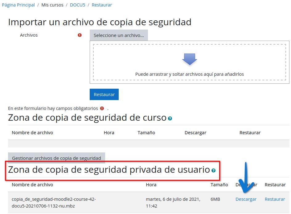 Descargar copia de seguridad privada del usuario